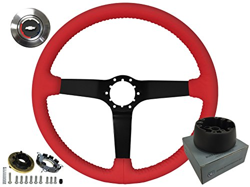 Chevy Truck Tilt Steering Column - Camaro El Camino Chevelle Red Leather Steering Wheel, Black Anodized Center Spoke Kit, GM Wood Wheel 6 Bolt Hub Adapter OE# 3930062 & Chevy Horn Cap 1967 1968