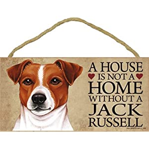 """A house is not a home without Jack Russell Terrier - 5"""" x 10"""" Door Sign 1"""