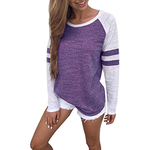 iDWZA Women Ladies Long Sleeve Splice Blouse Tops Clothes T Shirt (Purple, XL)