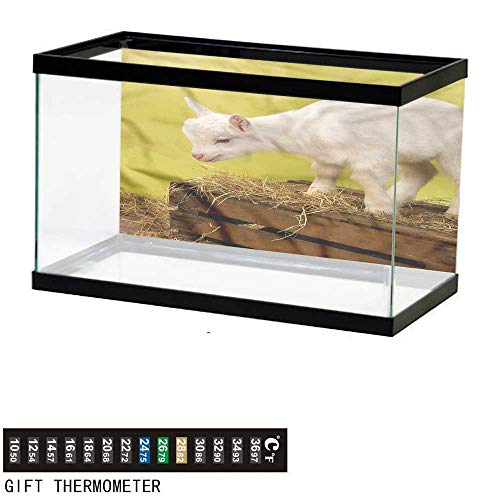 (bybyhome Fish Tank Backdrop Goat,Baby Animal with Hay Crate,Aquarium Background,30