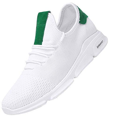 KUIBU Men Lightweight Breathable Slip-On Sports Toning Shoes Mesh Fly-Knit Running Sneaker Athletic White Green ()