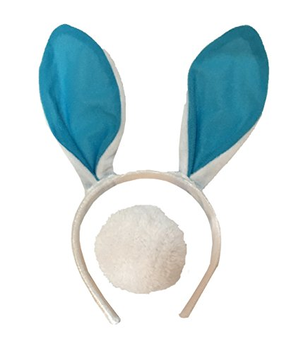 Christmas Story Bunny Pajamas Child Costume (Plush Bunny Ears Headband with Fluffy Tail - Bunny Costume - Woman Bunny Costume - Child Bunny Costume - LOTS OF COLORS-  (Blue))