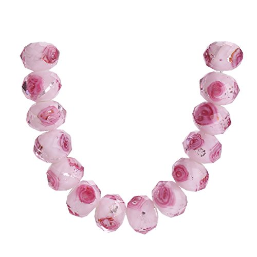 20Pcs Handmade Faceted Glass Rondelle Charms Rose Flower Inside Lampwork Loose Beads Lot Color (8mm, (Rondelle Lampwork Beads)