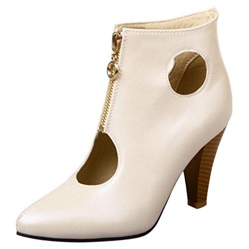 Zapatos Verano Botas Cerrado Mujer Ancho al Embudo Moda Beige COOLCEPT Hueco Tobillo Tacon RzUqPww6g