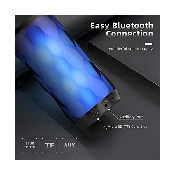 Enceinte Bluetooth Portable Haut-Parleur Bluetooth sans Fil avec 7 Modes LED Lumière AUX/SD/TF Microphone Intégré MUBYTREE 4
