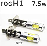 Best to Buy® (2-PACK) SUPER quality 7.5W Lens Build-In Chip White Cree Q5 H1 Headlights Lamp Car Led Bulb 6000K Cool White Light LED Bulb for Car (12-24V,2pcs)