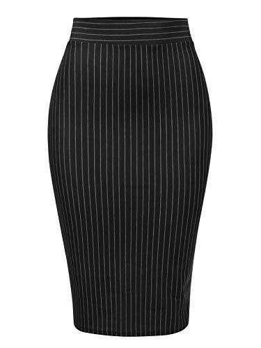 MixMatchy Women's Stretch Office Knee Length Midi Bodycon Pencil Skirt
