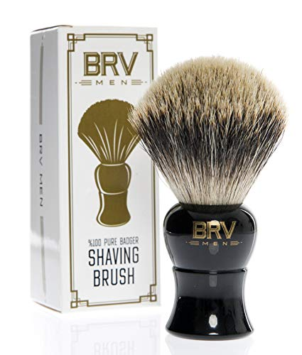 Shaving Brush | 100% Pure Badger Hair | Large Badger Brush | Heavy Resin Handle, Black | Rich Lather | Shave Brush | Use with Double-Edge Safety or Straight Razor | Genuine Badger Bristles (Black) ()