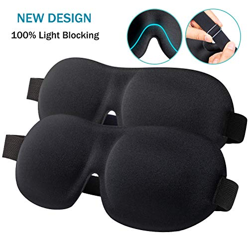 Sleep Mask for Women Men, 100% Blackout Light Blindfold 2 Pack, Fully Adjustable Buckle Strap 3D Contoured Eyeshade Soft Eye Sleeping Masks for Travel, Spa, Naps, Airplane, Meditation (Black & Black)