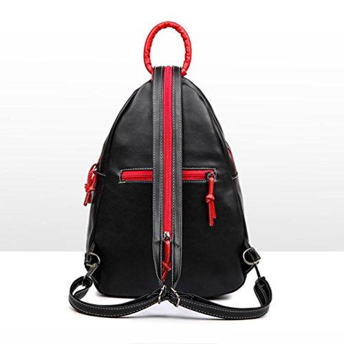 sac scolaire cuir 3 pièces Sac sac Noir imperméable en college noir femme à à dos vintage dos scolaire aqIYxvXY