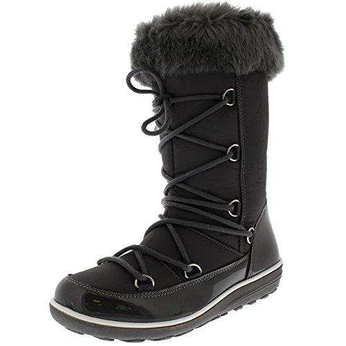 Polar Products Womens Rain Thermal Warm Snow Winter Knee High Waterproof Boots - Gray Nylon - US8/EU39 - YC0478