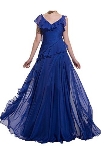 Royalblau Festkleid Ivydressing Partykleid A Damen Abendkleid Chiffon Stilvoll Promkleid Ballkleid Ausschnitt Linie V f7a6fOq