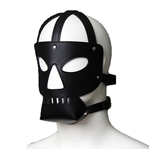 Raycity Black Leather Costume Gimp Mask Hood Style 12