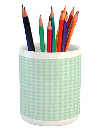 Lunarable Argyle Pencil Pen Holder, Soft Toned Pastel Diamond Shapes with Old Fashioned Vintage Argyle Motif, Printed Ceramic Pencil Pen Holder for Desk Office Accessory, Mint Green and Seafoam