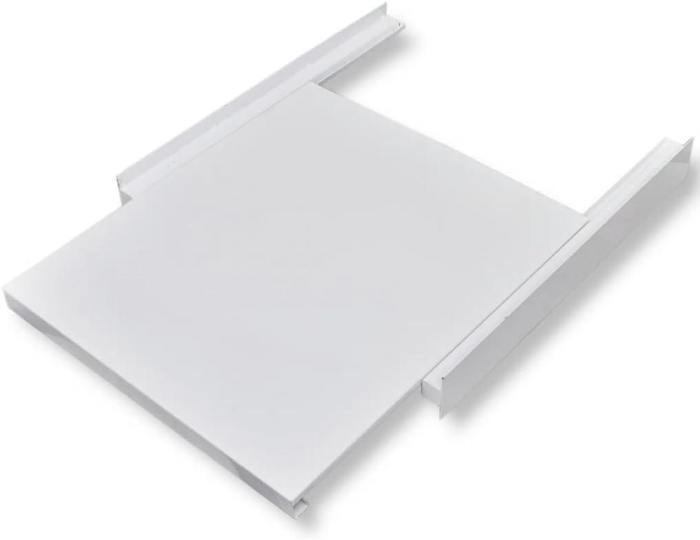 Nishore Kit de Apilado para Lavadora con Estante Corredizo, con 1 Estante Extraíble, Kit de Superposición - Color de Blanco Material de Acero, 60 x 60 x 8 cm