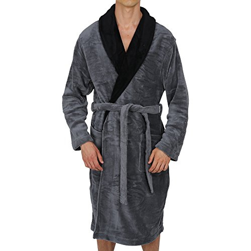 Regency New York Coral Fleece Robe Grey Black Collar Small/Medium