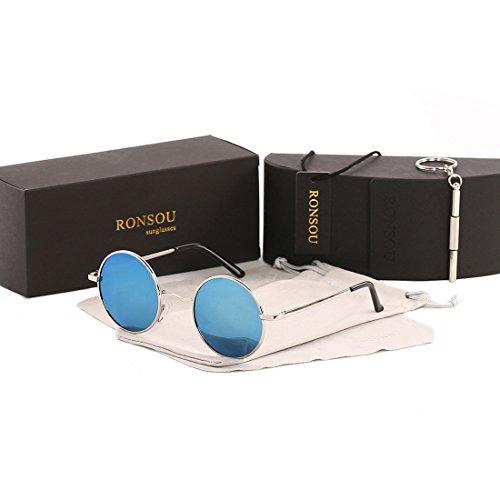 Ronsou Lennon Style Vintage Round Polarized Sunglasses Eyewear with Mirrored or Plain Lens silver frame/light blue - Blue Round Sunglasses Mirrored