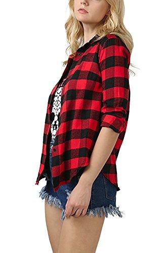 Autunno Blusa Rossi Quadri Eleganti Ufficio Donna Shirt Quadretti Moda Camicia Primavera Casual Camicette A Classica Manica Top Slim Lunga BOFxwRq
