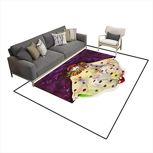 - Area Rugs for Bedroom Pierrot in Lilac Square Watercolor 6'6