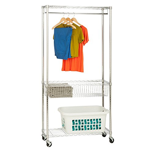 HoneyCanDo SHF04272 Rolling Laundry Station with Adjustable Baskets 355 x 135 x 755 Chrome