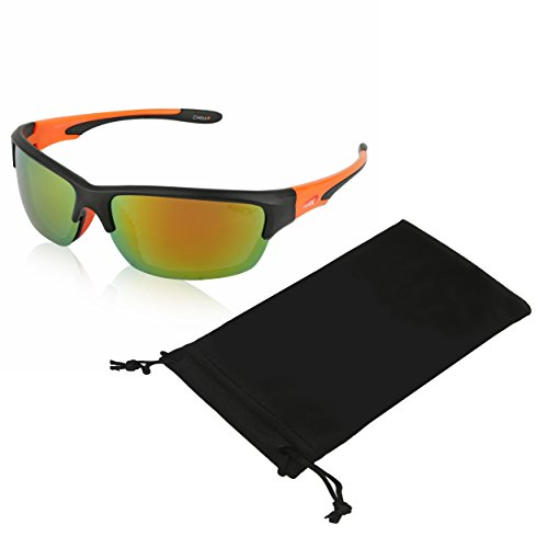 Coolook Polarized Sport Motorcycle Sunglasses For Men UV 400 Protection (Orange Peach)