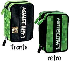 Minecraft Schoolpack - Mochila escolar organizada con 3 cremalleras y estuche con 3 cremalleras: Amazon.es: Oficina y papelería