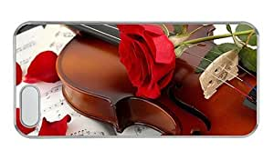 Hipster iphone 5 case custom cases music violin red rose PC Transparent for Apple iPhone 5/5S