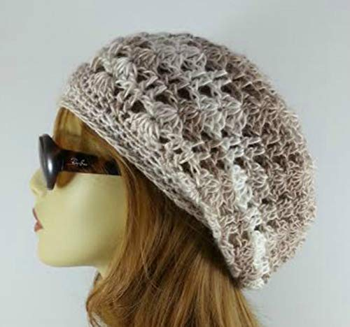 0e9bd7bfacd Amazon.com  Slouchy Beanie Crochet Hat for Women Lacy Beige Handmade in  USA  Handmade