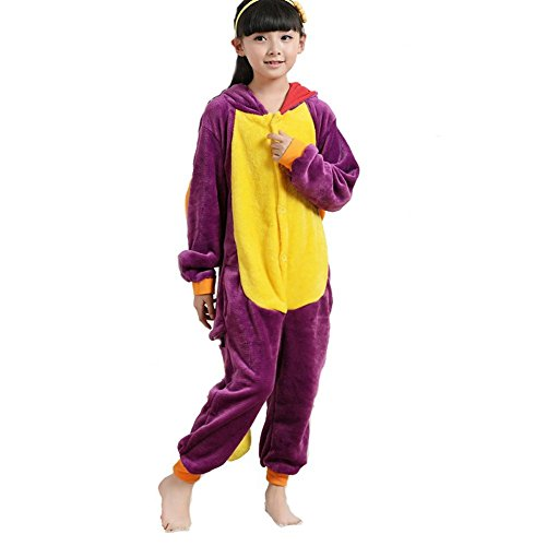 ABING Halloween Pajamas Homewear Onepiece Onesie Cosplay Costumes Kigurumi Animal Outfit Loungewear,Purple Dragon Chidren Size 85 -for Height 88-102cm by ABING