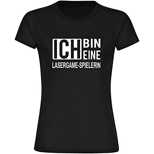 T-Shirt ich bin eine Lasergame-Spielerin schwarz Damen Gr. S bis 2XL