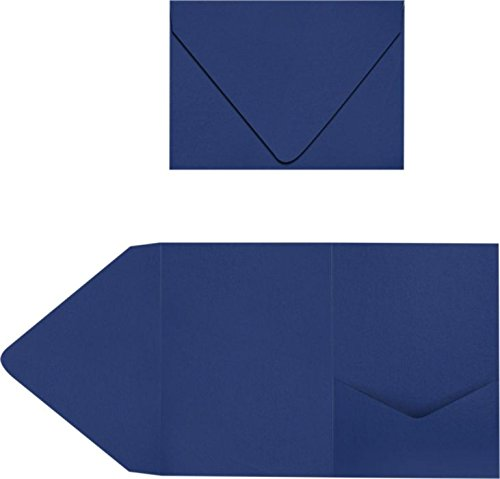 A7 Pocket Invitations - Navy (100 Qty.) | Perfect for Invitation Suites, Weddings, Announcements, Sending Cards, Elegant Events | Printable | (Suite Pocket)