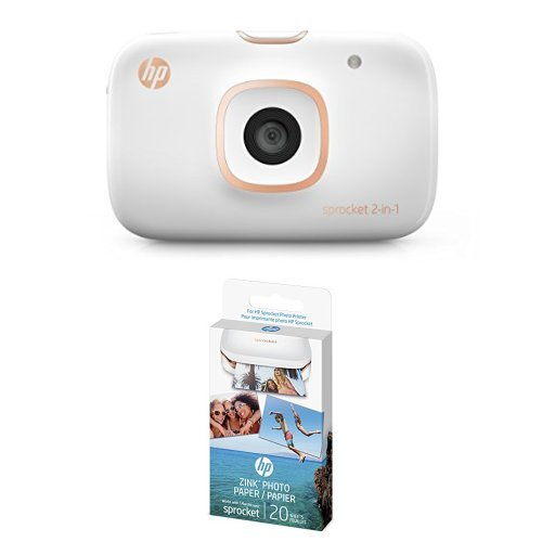 HP Sprocket 2-in-1 Portable Photo Printer & Instant Camera, print social media photos on 2x3 sticky-backed paper (2FB96A) with additional 40 sheets ZINK Sticky-Backed Photo Paper