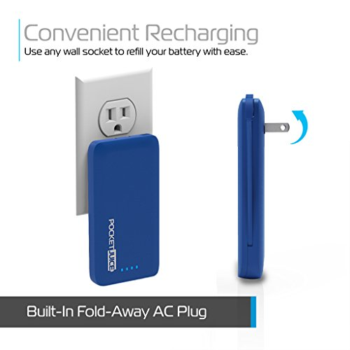 Tzumi PocketJuice Endurance AC - Mini Portable Smart Device Battery Pack Charger - 4,000 mAh High-Speed Single USB Port - Works With All iPhone And Android Devices & Includes Micro USB Cable - Blue by Tzumi (Image #3)