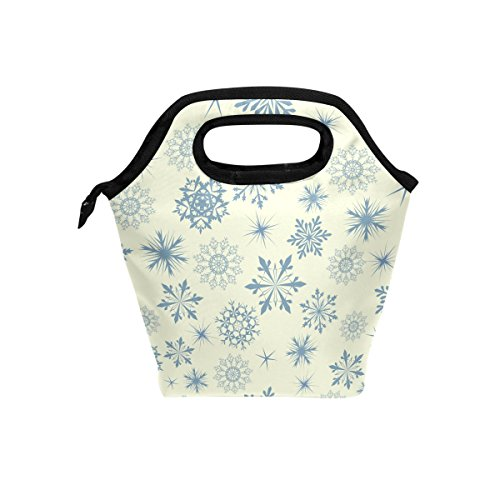 (LORVIES Snowflakes Background Lunch Tote Bag Insulated Thermal Cooler Lunch Bag Waterproof Neoprene Lunch Handbags Tote with Zipper for Outdoor Travel Picnic)