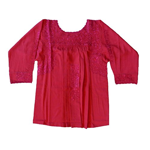 Mexican Clothing Co Womens 34 Sleeve San Antonino Fancy Blouse Small Pink 14