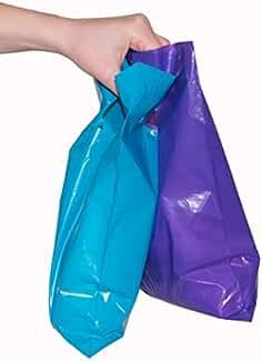 451033731c6 200 small glossy purple   teal plastic merchandise bags w die cut handles  9x12