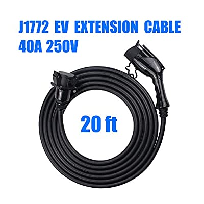 Morec J1772 Extension Cable, 40Amp 20ft EV Extension Cord for EV Charging Stations