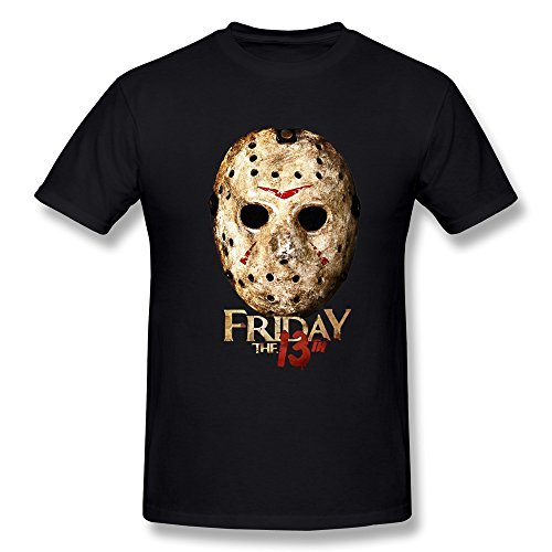 YvonneArt Men's Friday The 13th Jason Halloween Mask Tees Black X-Large]()