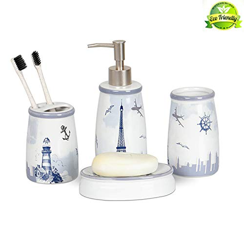 ENWEI 4-Piece White Ceramic Bathroom Accessory Set,Lighthouse Pattern