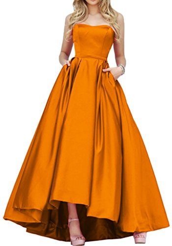 Satin Abendkleid Gorgeous Lo Abendmode Einfach Bride Hi Promkleid Orange Lang Traegerlos qx0IXHIwr