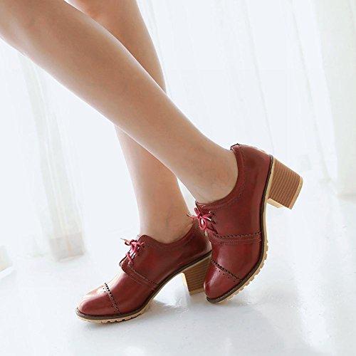 Latasa Mode Lace-up Chunky Mi-talon Oxfords Chaussures, Toutes Les Saisons Chaussures Rouge