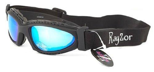1つのSki / SnowBoardサングラス/ゴーグルに付きRayzor Professional UV400ブラック2枚、防曇処理されたブルーのイリジウム、反射防止防眩透明レンズと取り外し可能な伸縮性のあるヘッドバンド   B002MTXOA0