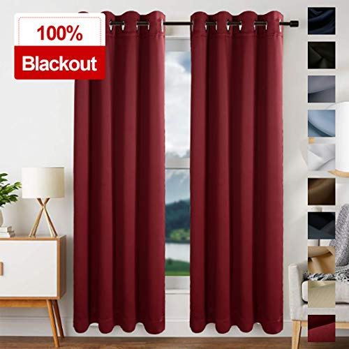 EDILLY 100% Thermal Insulated Solid Grommet Blackout Curtains for Living Room Double Panels Drapes for Bedroom/Kitchen Windows (2 Panels,W52xL84 inch Length,Burgundy Red) (Living Valances Room Drapes And)