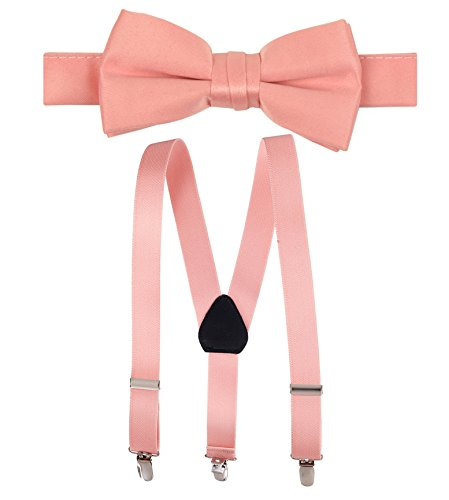 Hold'Em Suspender and Bow Tie Set for Kids, Boys, and Baby - Proudly Made in USA - Extra Sturdy Polished Silver Metal Clips, Pre tied Bow Tie-Peach 22