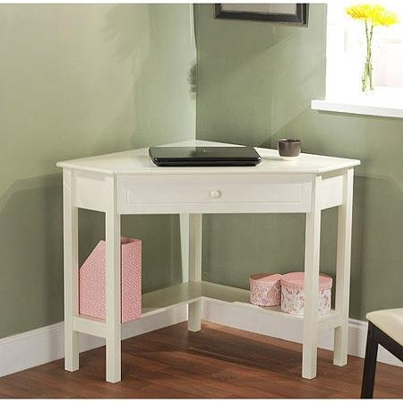 Sturdy Wooden Corner Writing Desk, Antique White - Amazon.com: Sturdy Wooden Corner Writing Desk, Antique White