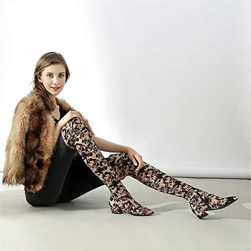 Cuisse Zip genou du Boots Taille Femme Boots Zpl EU Stretch dessus 35 Marron Bottes Au 39 Stretch xnYHPApp8q