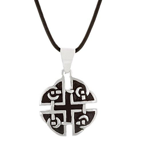 Willowbird Black Enamel Maltese Cross Circle Pendant in Stainless Steel