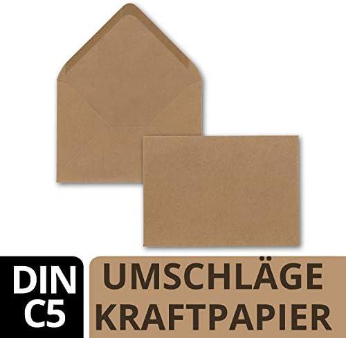 50 DIN C5 Briefumschläge Kraftpapier Vintage Braun Recycling - 22,5 x 15,7 cm - 120 g/m² Nassklebung Post-Umschläge ohne Fenster ideal für Weihnachten Grußkarten Einladungen von Ihrem Glüxx-Agent