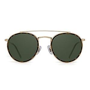 Round Polarized Aviator Sunglasses Metal Frame Flat Circle lens Glasses Men Women (Gold Alloy Tortoise Tip/Polarized Green)
