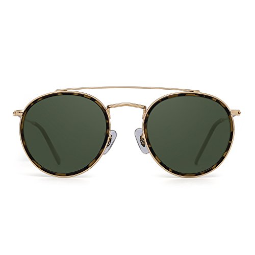 JIM HALO Small Polarized Round Sunglasses for Women Vintage Double Bridge Frame (Gold Frame/Polarized Green ()
